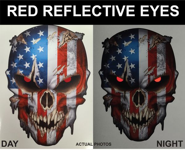 USA AMERICAN FLAG SKULL STICKER DECAL FOR CARS TRUCKS WINDOWS BUMPERS LAPTOPS VEHICLE RED REFLECTIVE EYES