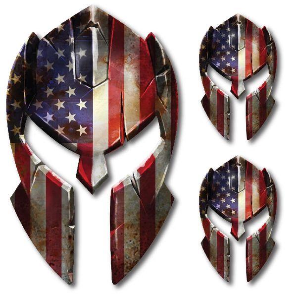 3 pk Molon Labe Spartan Helmet Police Officer American Flag decal sticker
