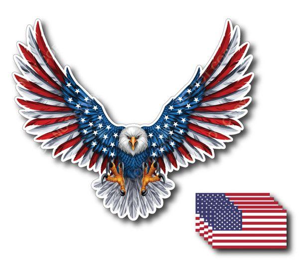 6pk American Flag Bald Eagle USA Decal Sticker Truck Vehicle Window Wall Car