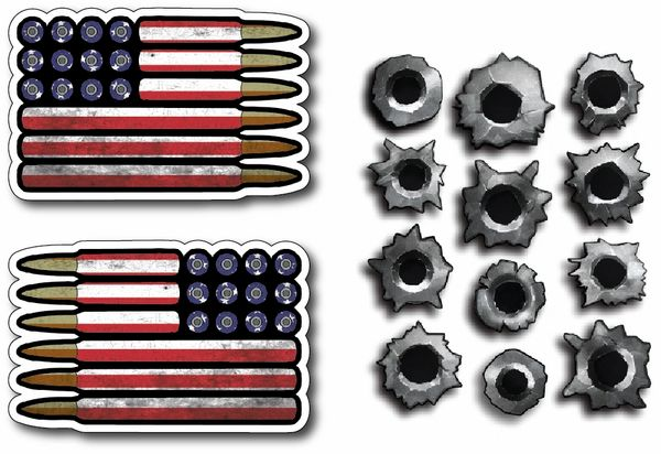 USA Flag Regular and Reverse Bullet Hole Combo Pack 14 total decals