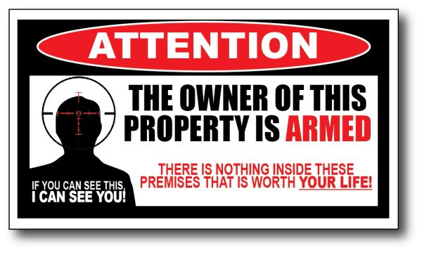 3 Pack Owner is Armed Attention Warning Security Sticker 3M Peel and Stick sign anti-theft deterrent