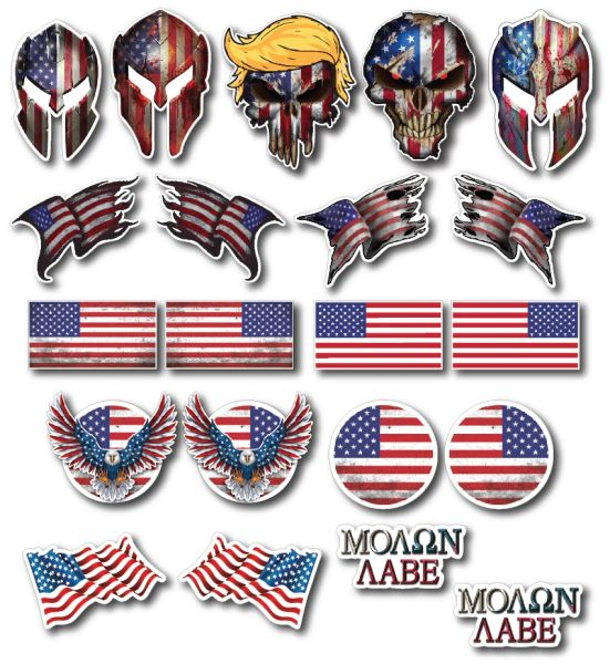 Decals by Haley 21 Pack Hard Hat, Tool Box, Tool Chest, Lunch Box Ameirican Flag Stickers Proudly Made in USA! Perfect for Construction, Electrician, Oilfield, Military, Fire Crew, Mechanic