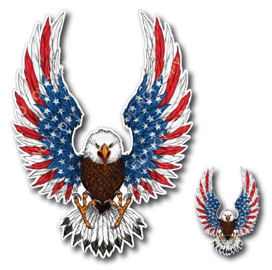 2pk American Flag Bald Eagle USA Decal Sticker Truck Vehicle Window Wall Car