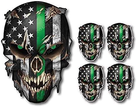 5 Pack of Thin Green Line Skulls I Support The Military Vinyl Decal Sticker American Flag Car Truck (5 Pack)