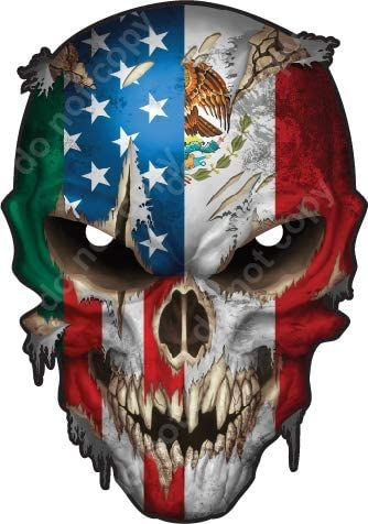 American Mexico Country Flag Skull Vinyl Decal Bumper Window Sticker Truck Car Peel and Stick