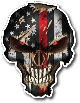 Thin Red Line Skull small pack of 4 Fire Fighters American Flag Vinyl Decal Sticker Car Truck