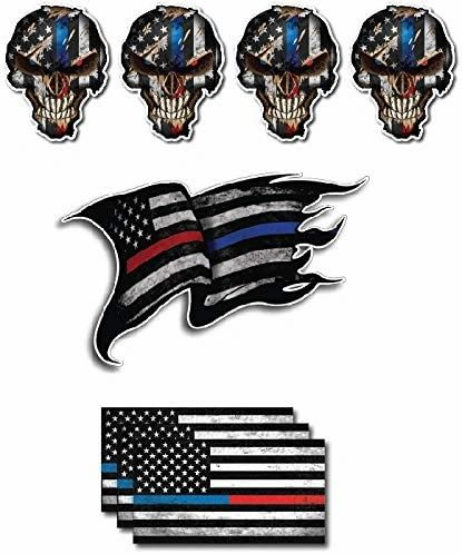 Pack of 7 THIN BLUE AND RED LINE to show support for Police and Firemen Decal Sticker Firefighter American Flag Vinyl Skull Tattered Distressed Fallen Officer Thin Blue Line Car Truck Graphic