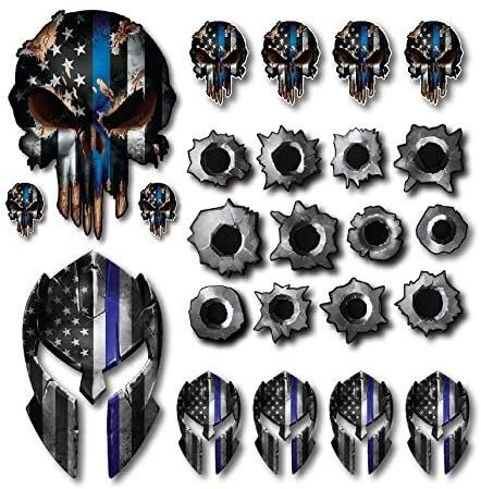 Variety Pack of 24 Thin Blue Line Spartan Helmet Skull Bullet Holes Molon Labe Decal Sticker Molon Labe Sniper USA Flag
