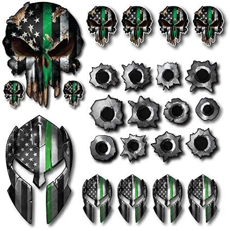 Decals by Haley Variety Pack Thin Green Line Spartan Helmet Skull Bullet Holes Molon Labe Decal Sticker Molon Labe Sniper USA Flag (24 Pack)