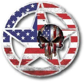 "Army Star Skull Vinyl Decal 4"" x 4"" Car Truck Military Flag USMC Sticker Vet Military USA"