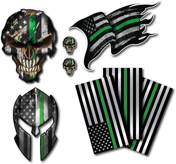 Decals by Haley Thin Green Line Variety Pack Thin Green Line Spartan Helmet Skull Molon Labe Decal Sticker Molon Labe Sniper USA Flag (6 Pack)