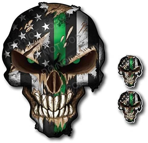 Thin Green Line Skull Decal Army Car Truck Military Pack Sticker TGL Navy Air Force Marines
