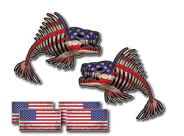 Pair of US Flag Bone Fish Skeleton and USA American Flag Decal Fishing Kayak Sticker Outdoors Patriot Bass Graphic