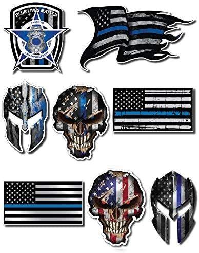 Mega Variety Pack of Thin Blue Line Police Officer Blue Lives Matter American Flag Vinyl Decal Sticker Car Truck BLM(8 Pack)