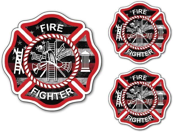 3 Pack Firefighter Badge Maltese Cross Thin Red Line USA American Flag Red Lives Matter for Firemen or Firewomen