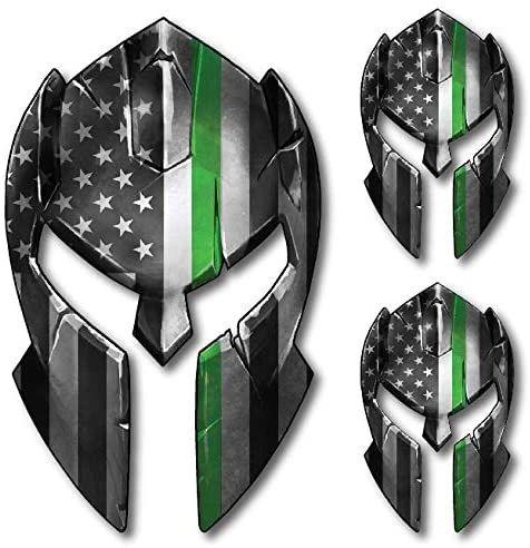 Decals by Haley 3 Pack Thin Green Line Spartan Helmet Decal Distressed Tattered USA Gladiator American Flag Sticker Gun 2nd Amendment Molon Labe