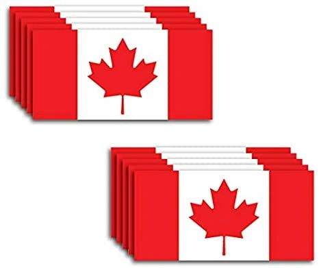 """10 Pack of New Canada Flag Vinyl Decal Country Stickers Car Truck 2"""" x 4"""""""