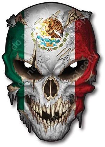 Mexico Flag Skull Vinyl Decal Sticker Truck Car Mexican American