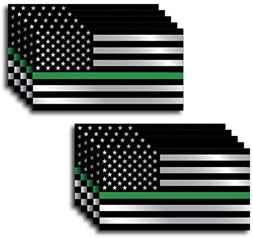 Thin Green Line 10 Pack I Support The Military Decal Sticker American Flag Car Truck(10 Pack)