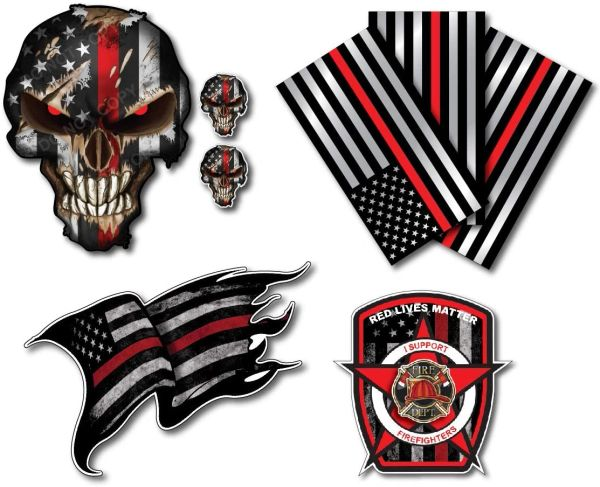 Variety Pack of Thin Red Line Firefighter Fire Department Fire Truck Red Lives Matter Decal Sticker Car Truck RLM(8 Pack)