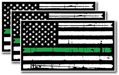 Thin Green Line Tattered 3 Pack TGL I Support The Military Veterans Decal Sticker American Flag Car Truck