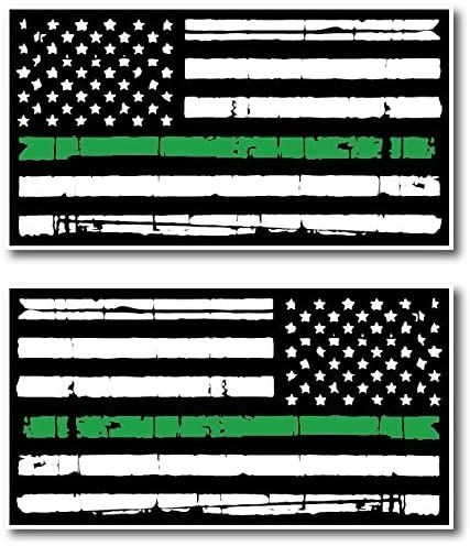 Thin Green Line Tattered 2 Pack I Support The Military Veterans Green Lives Matter Decal Sticker American Flag Car Truck (2 Pack) Mirrored Reverse