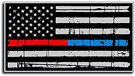 """Thin Blue and Red Line Police Officer Fireman Firefighter BLM American Flag Vinyl Distressed Decal Sticker Car Truck 3"""" x 5.5"""""""