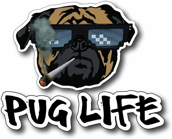 Decals by Haley Funny Pug Life Dog Lover Decal Bumper Sticker Peel and Stick for Windows Cars Trucks laptops
