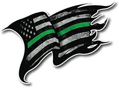 Thin Green Line Tattered 4 Pack I Support The Military Decal Sticker American Flag Car Truck (4 Pack)