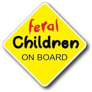 3 Pack Feral Children on Board Decal Sticker Car Truck Window Bumper Safety Sign Peel and Stick