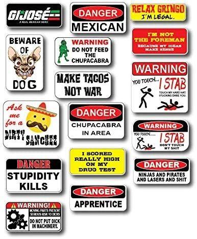 16 Pack Mexican Hard Hat Hilarious Crude Funny Joke Decals Sticker 3M Toolbox Welder Helmet Toolbox Prank LOL Construction