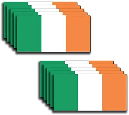 """10 Pack of New Irish Flag Vinyl Decal Country Stickers Car Truck 2"""" x 4"""""""