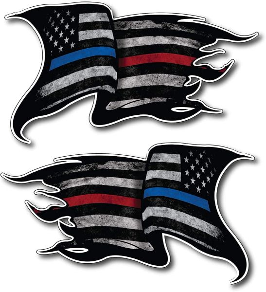 Pack of 2 Thin Blue and RED LINE to Show Support for Police and Firemen Decal Sticker Firefighter American Flag Vinyl Skull Tattered Distressed Fallen Officer Thin Blue Line Car Truck Graphic