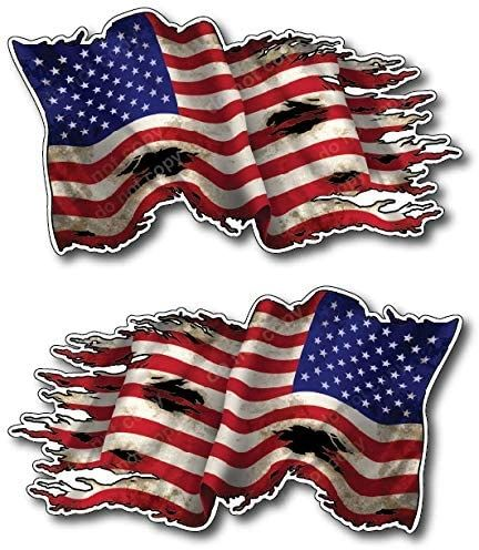 """2 Pack New Tattered Waving USA American Flag Vinyl Decal Army Navy Military Country Stickers Car Truck 4"""" x 7"""" 1 Regular 1 Mirrored Reverse Left Facing Right Facing Backwards"""