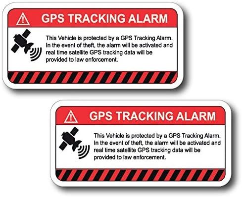 """(2 Pack) This Vehicle Protected by GPS Tracking Warning Sticker - Decal Self Adhesive Sign 4"""" x 2"""" Vinyl — UV Resistent"""