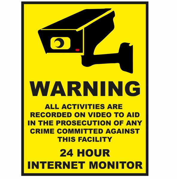 WARNING ALL ACTIVITIES RECORDED VINYL DECAL