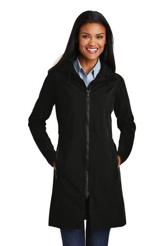 Port Authority® Ladies Long Textured Hooded Soft Shell Jacket NCA