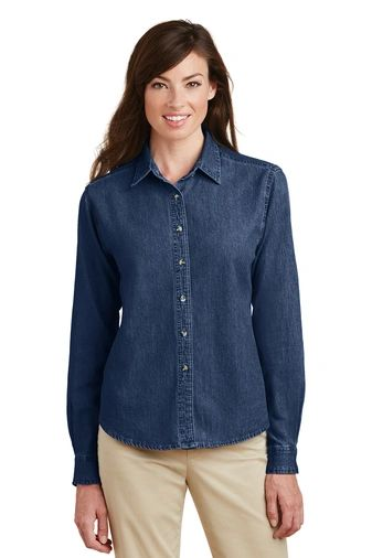 Port & Company® - Ladies Long Sleeve Value Denim Shirt PBGV