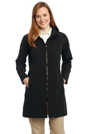 Port Authority® Ladies Long Textured Hooded Soft Shell Jacket RHR