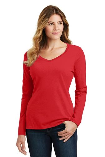 Port & Company® Ladies Long Sleeve Fan Favorite V-Neck Tee NPD
