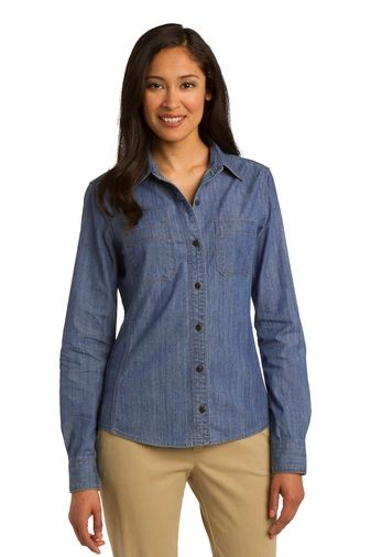 Port Authority® Ladies Patch Pockets Denim Shirt NPD