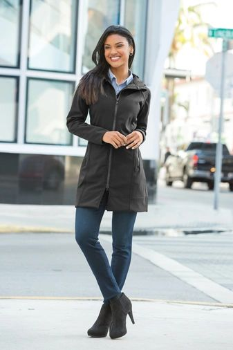 Port Authority® Ladies Long Textured Hooded Soft Shell Jacket CNS