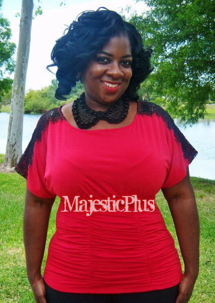 Ruched Top w/ Lace Shoulders