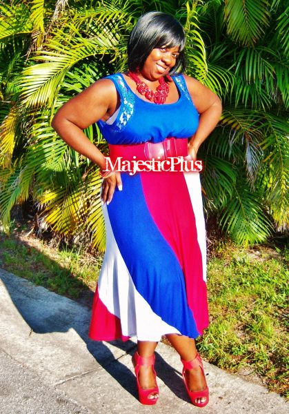 USA Color Block Maxi Skirt