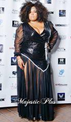 Sequin Wrap Dress w/Sheer Sleeves & Bottom