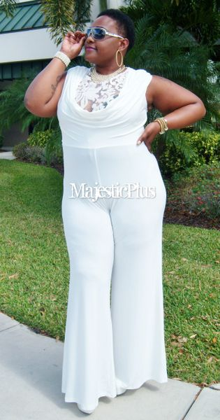 Wide Legged White Lace Top Jumpsuit w/Draped Bust