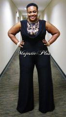 Wide Legged Black Lace Top Jumpsuit w/Draped Bust