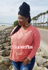 CORAL CROCHET PANEL KNIT TOP