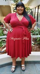 RED FIT & FLARE WRAP DRESS w/WAIST TIE