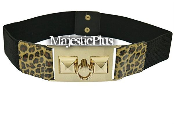 "2.5"" Plus Size Animal Print Decorative Knocker Plate Stretch Belt"